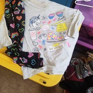 Justice leggings and shirt set
